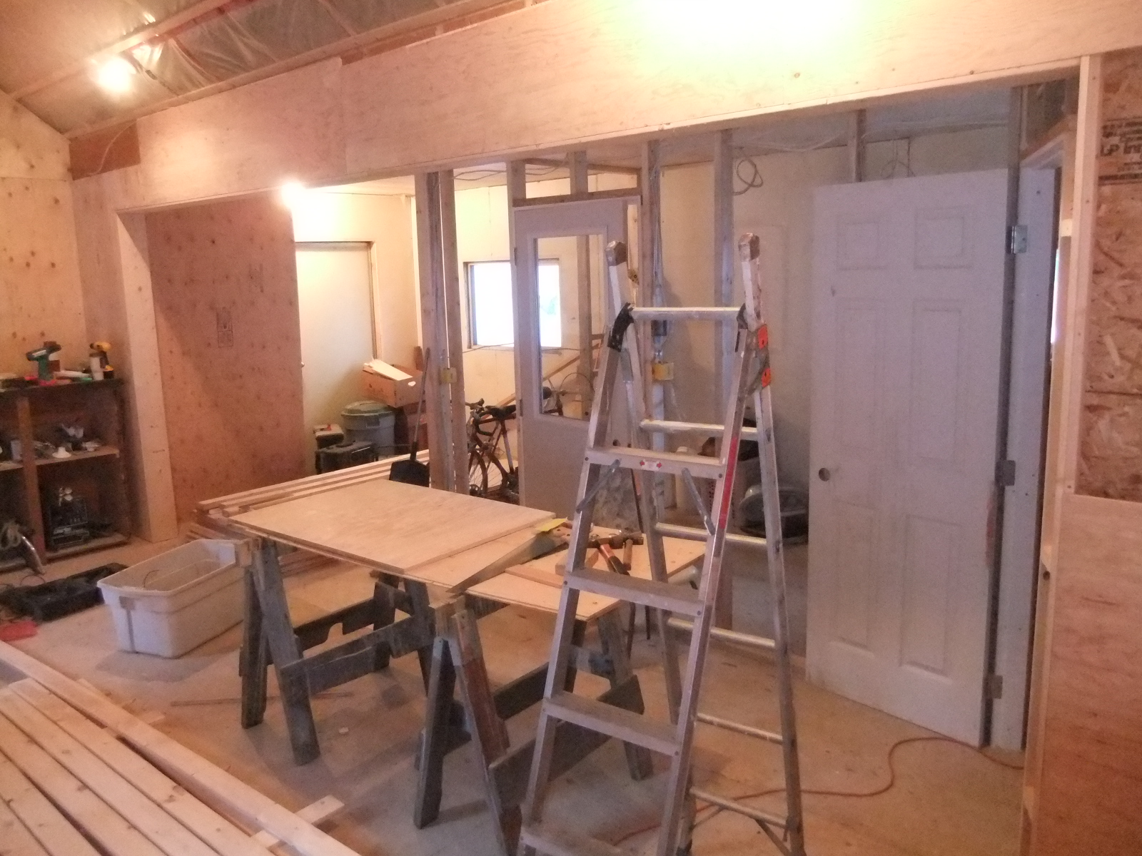 Paneling is starting to go up on the walls and transform the space into something new.