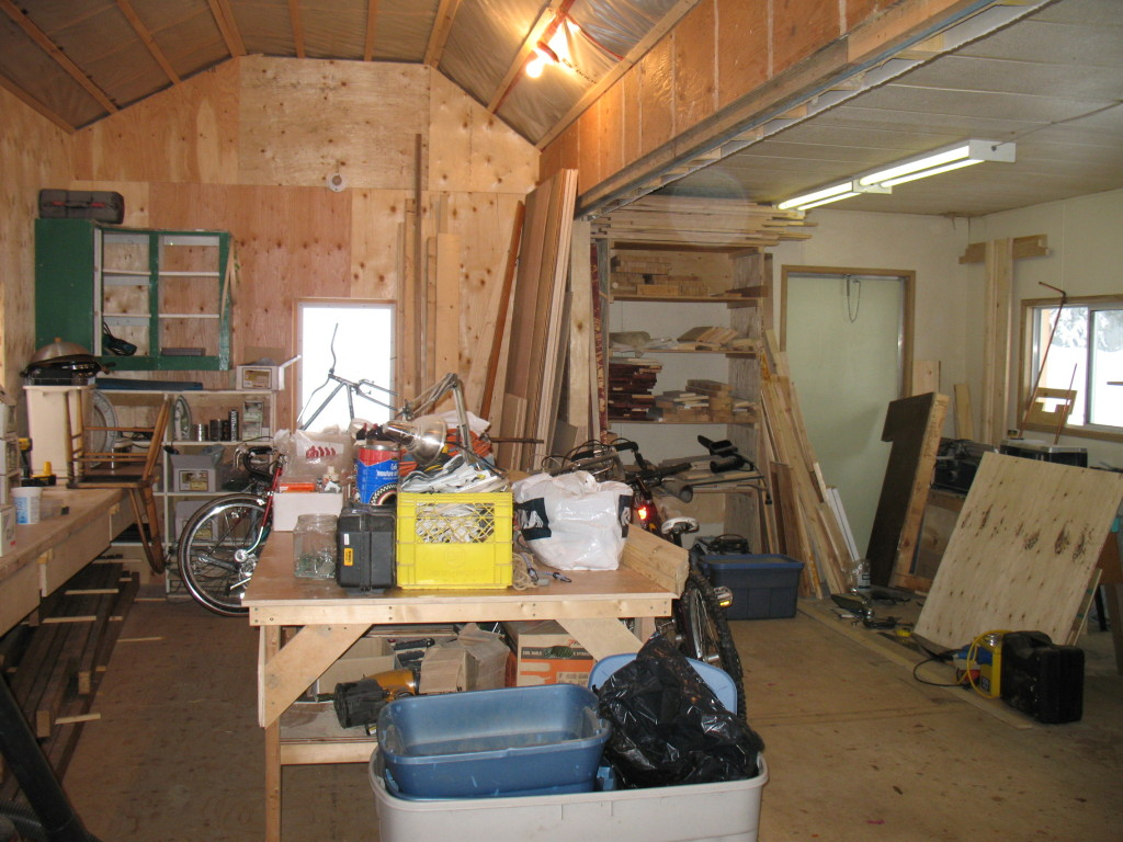 The bakery space - still in use as a carpentry shop, albeit slightly dishevelled by the addition of a few bikes and bike parts.
