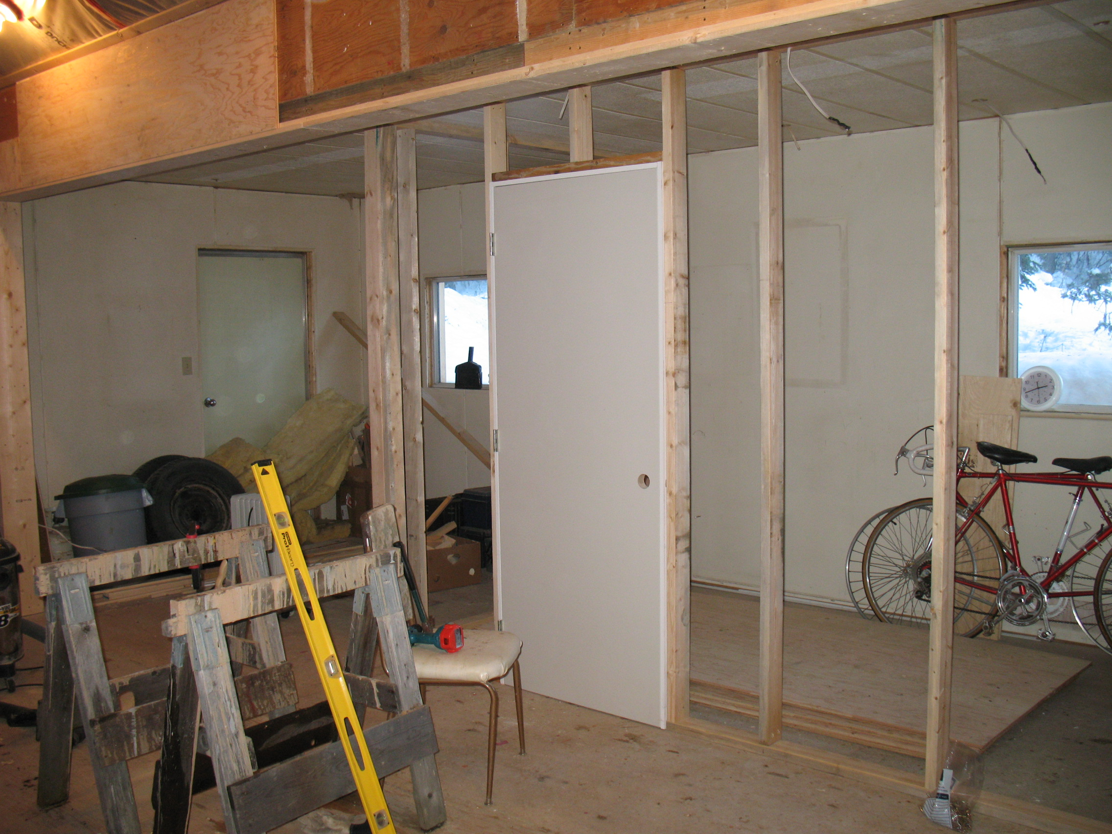 The walls and door of the Dough Room are being roughed in.