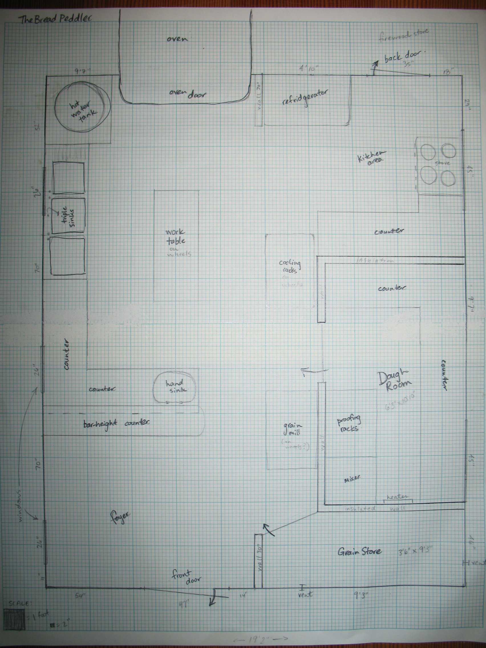 A photo of the bakery layout plan.