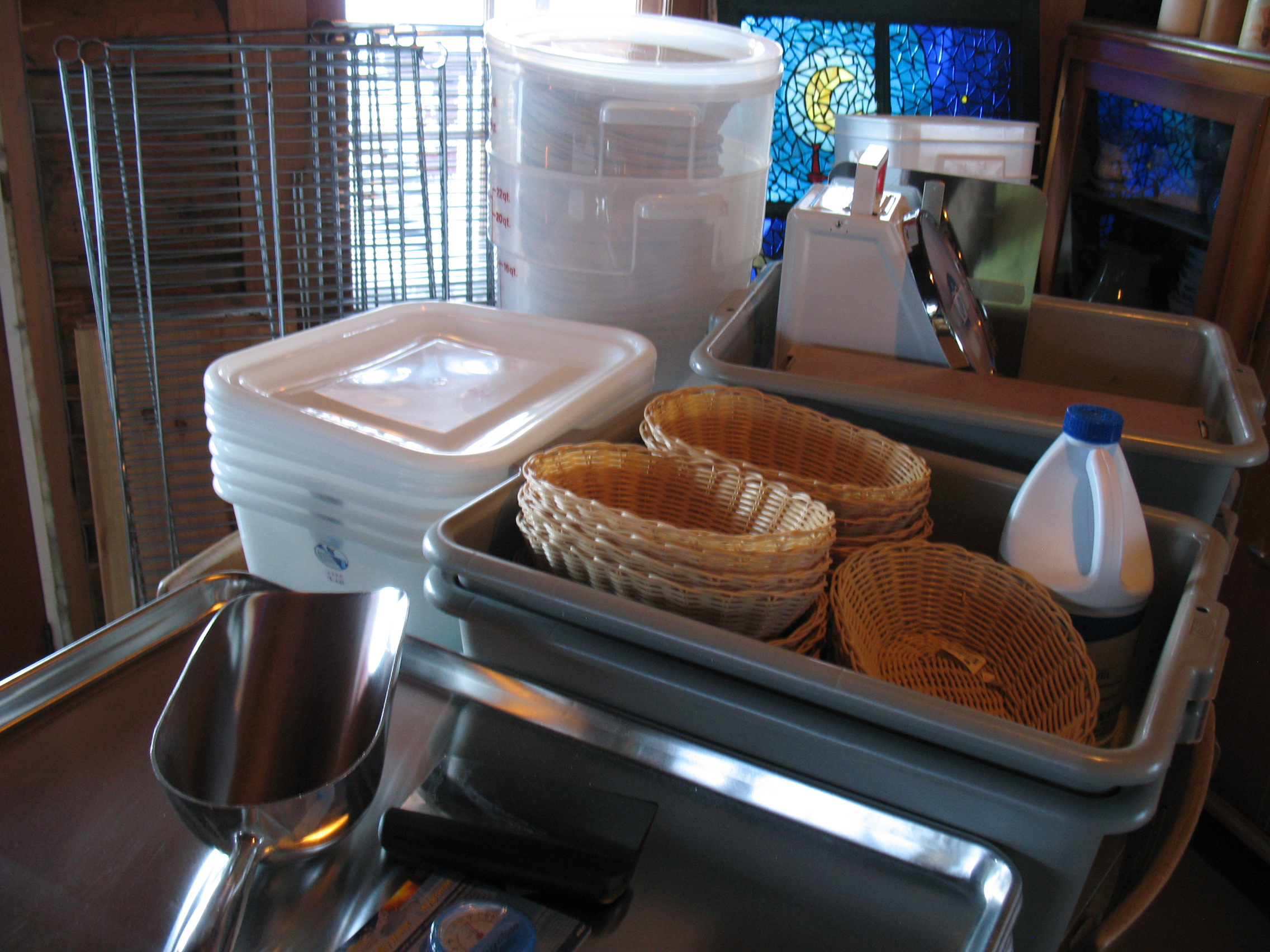Bakery goodies: proofing baskets and racks, tubs with lids for doughs and starters, thermometers, scoops, cooling racks, bus pans, scales, etc!