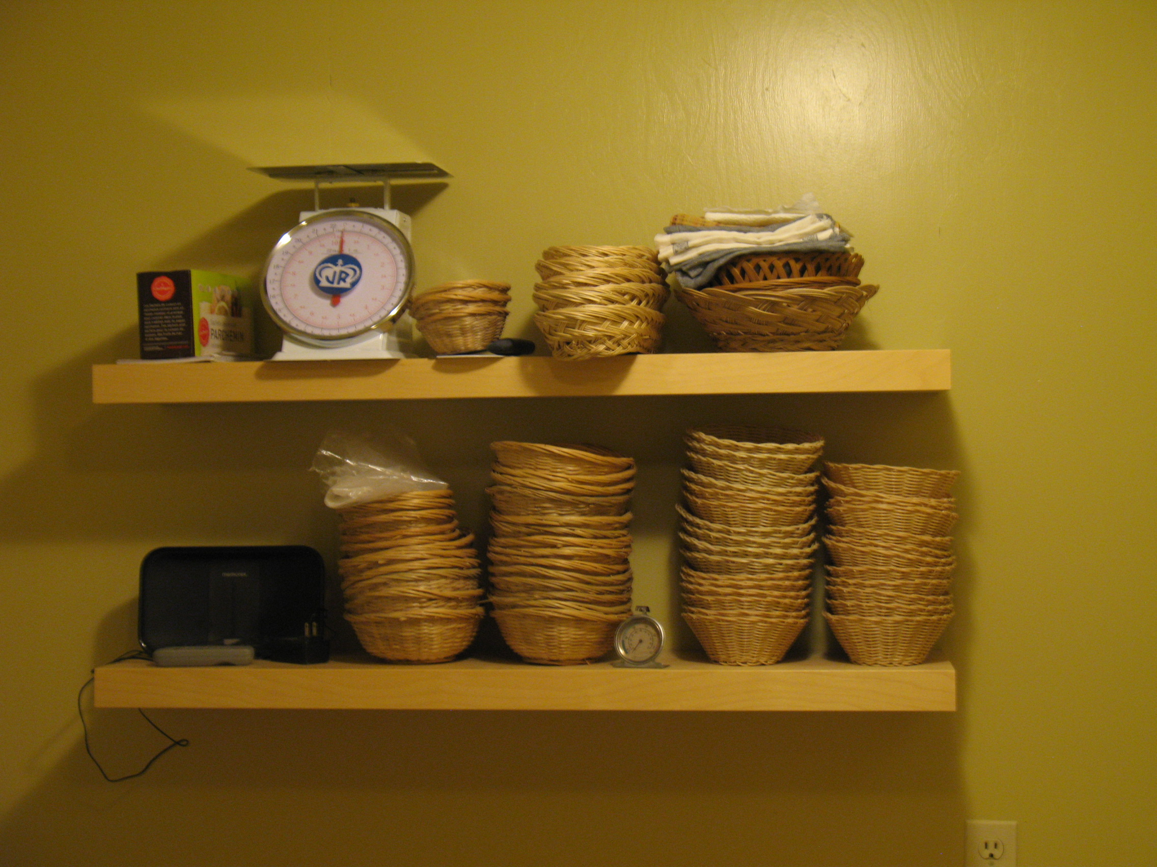 In the dough room - proofing baskets and other fun things.