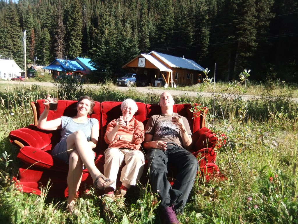 Last Saturday we all left for the Quesnel Farmer's Market with at least four layers on. When we got home in the afternoon it was HOT! (One day we may just go out and buy lawn chairs like normal people, but in the meantime, moving the couch outside was fun, even if Tim had trouble carrying it).