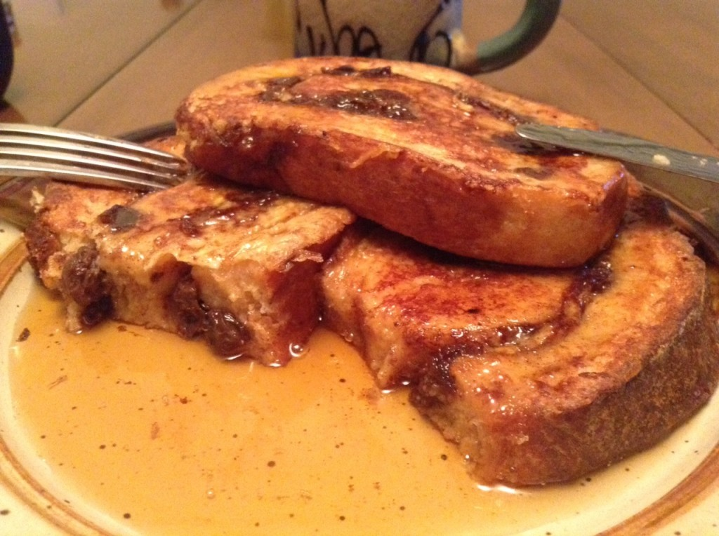 French toast made with our Cinnamon Raisin Spiral bread. Oh my!