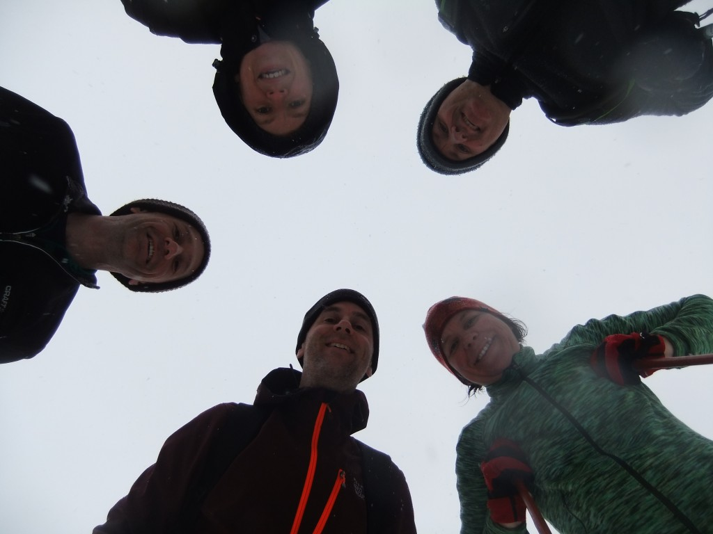 Looking up the nostrils of a gang of skiing buddies. The BEST way to spend New Year's Day.
