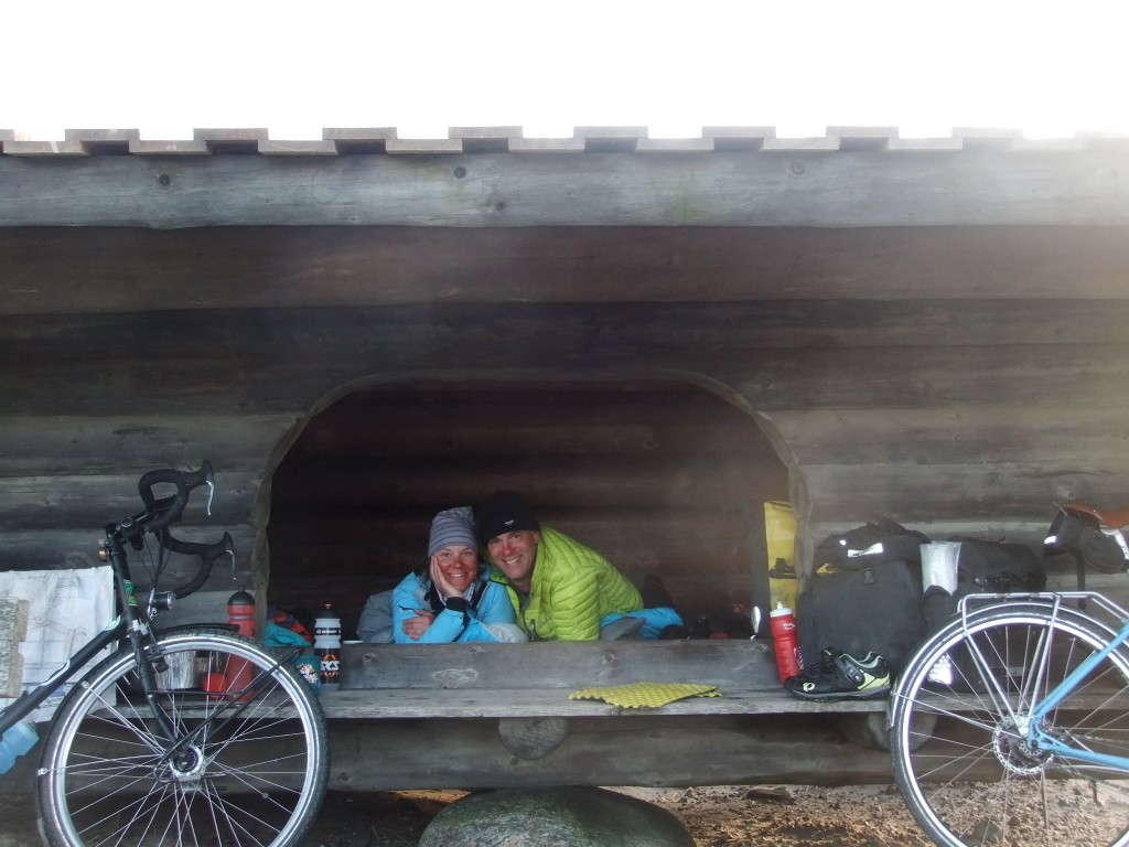 One of the little sleeping shelters at the wild-camping spots. They are great for sheltering from wind and rain, of which we have experienced some.