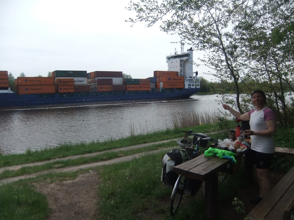 Shipping in the Nord-Ostsee Kanal. (Notice the short-sleeves: this is the only day on our trip it was warm enough to have only one layer on!)