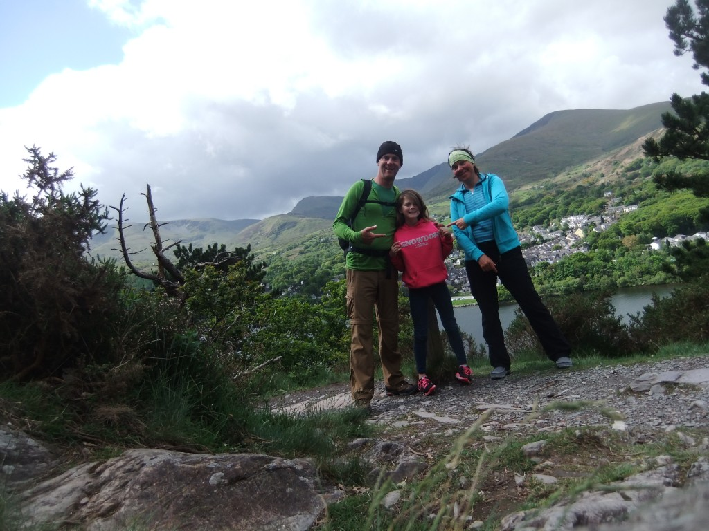 Sally's Snowdon hoodie (post summit) with Llanberis in the background.