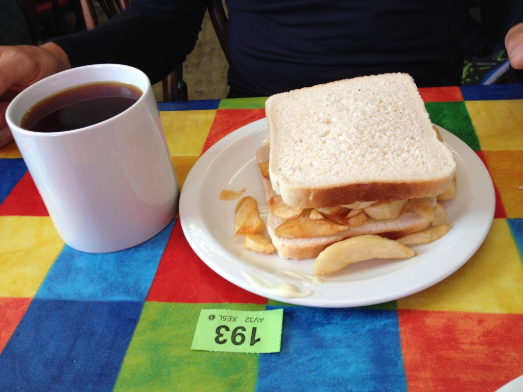 Fine British cuisine. (I am still working out just how they get that bread so white??)
