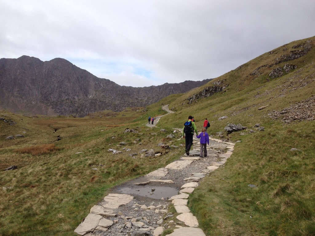 Heading up Snowdon on the Pyg Track. Unlike hiking in Wells, there are no trees, no stumps, no roots, no logs, and no bugs.