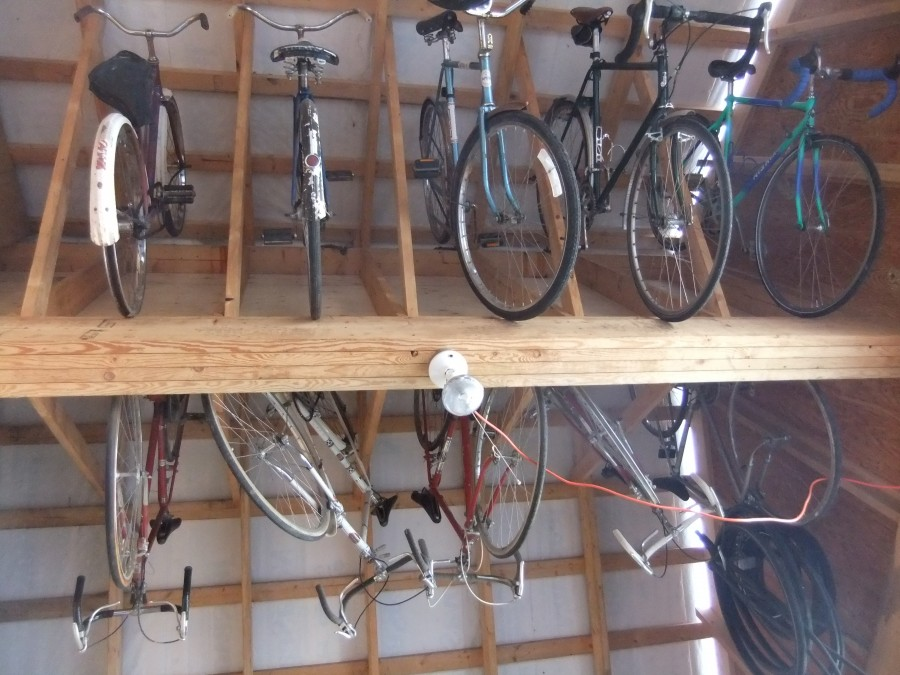 Bikes in the rafters.