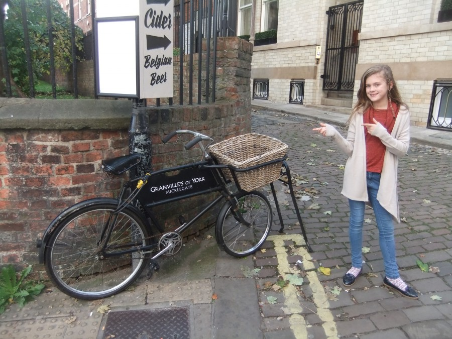 Sally and a cargo bike in York.
