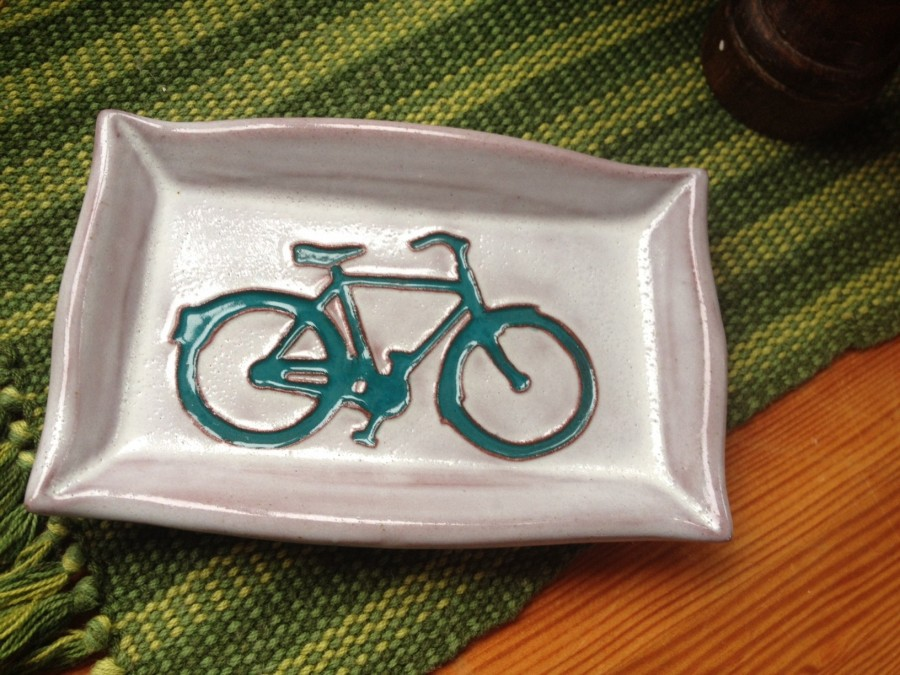 A gift! Lovely bike-inspired pottery from Alberta. Thanks, Charlene!