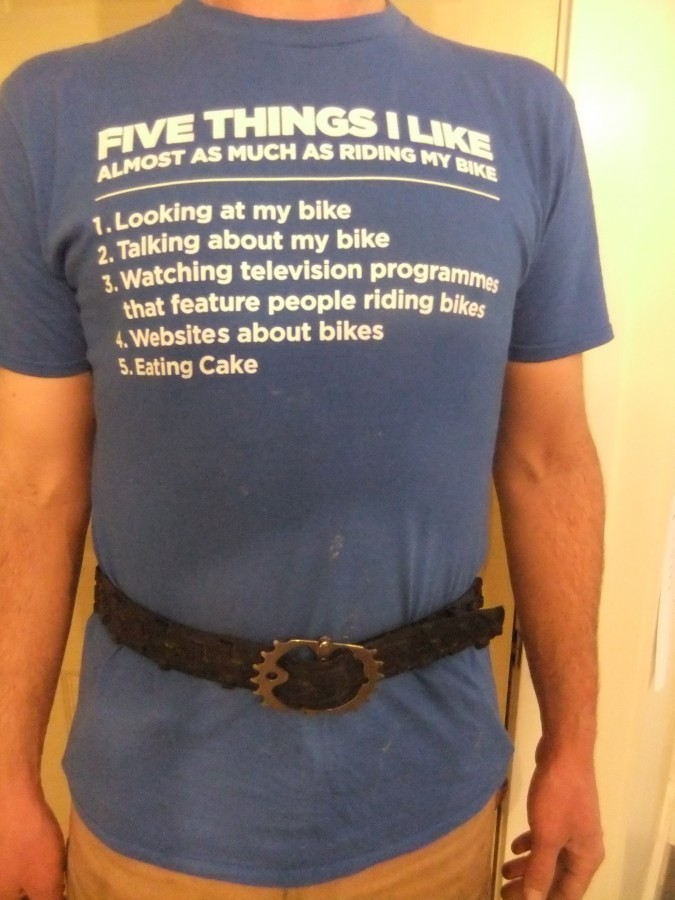Another bicycle-inspired gift, this time from our friend Carrie: a belt made out of a bike tyre with the buckle made out of a bit of chain and a chain ring. (But, you ask,  why is Tim standing like that with his low back all jammed up? Because he used to be in the army).