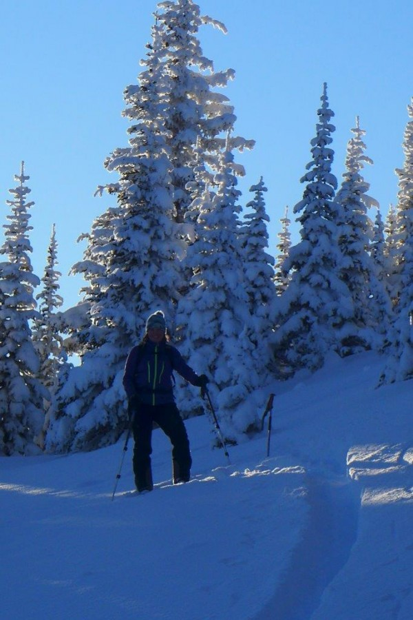 Skiing up Mount Murray.