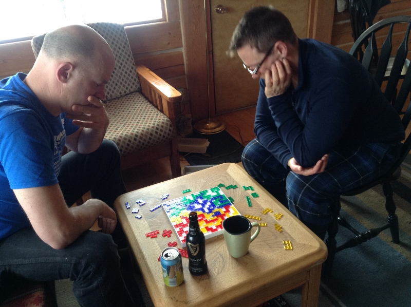 A very intense game of Blokus.