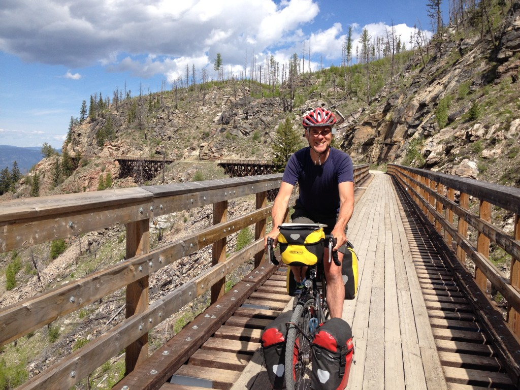 On the Kettle Valley Railway's nice-to-cycle non-motorized section - the Myra Canyon with its restored railway trestles and hard-packed trail surface.