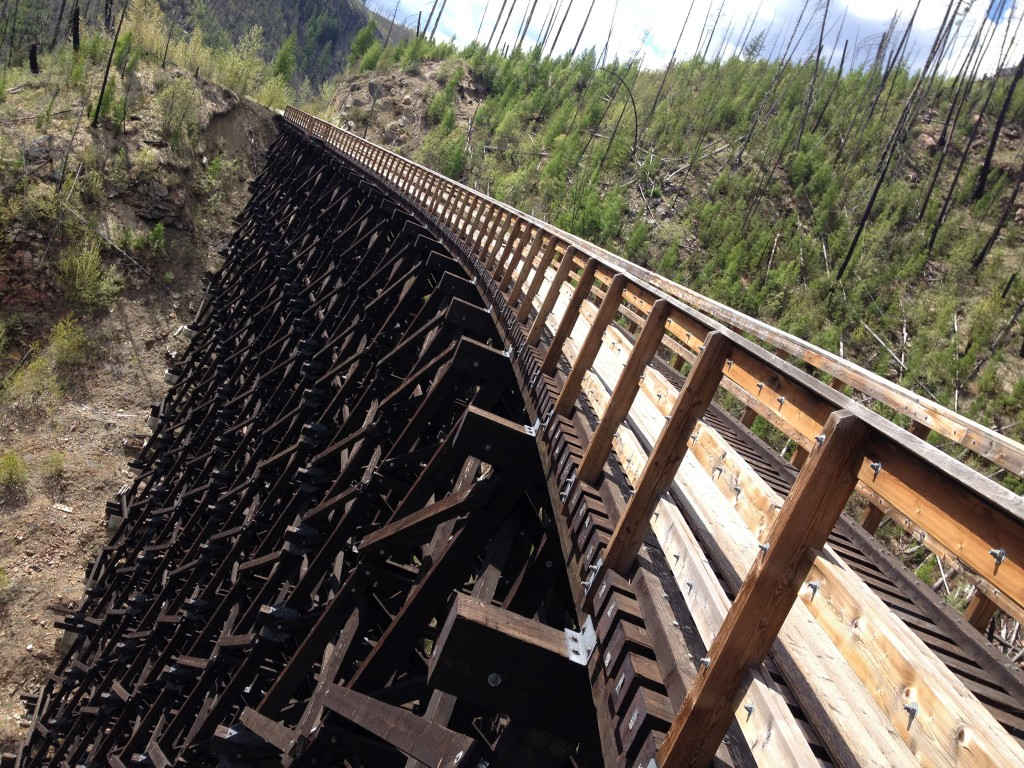 14 out of the 18 Myra Canyon railway trestles, built in 1915, burned in the area's 2003 forest fire. All have since been restored - just for cyclists and walkers.