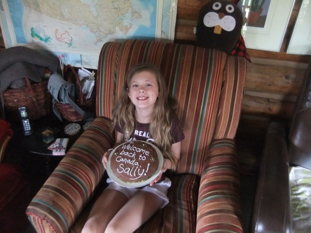 Sally and her welcome-to-Canada cake, which Tim and I ate most of.