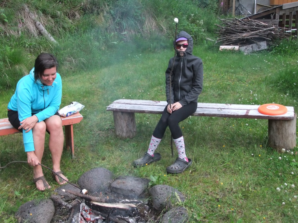 Roasting marshmallows - notice the local vs visitor anti-bug attire!