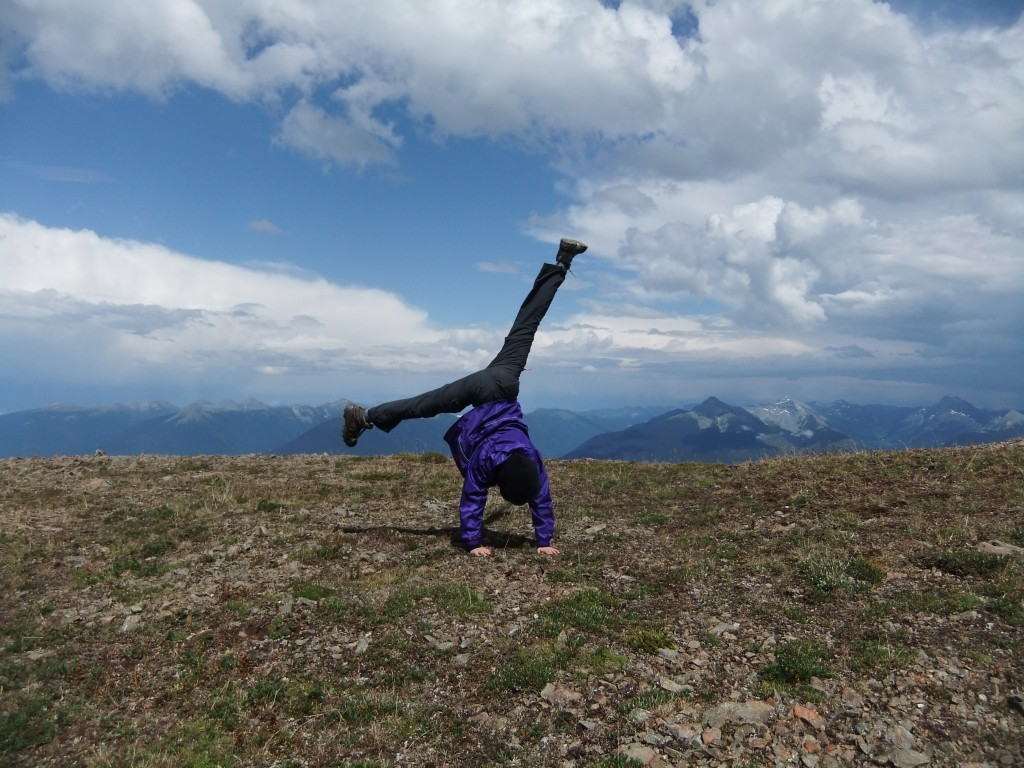 Cartwheels at the top of Mount Patchett! (All wingeing forgotten - it's all downhill from here!)