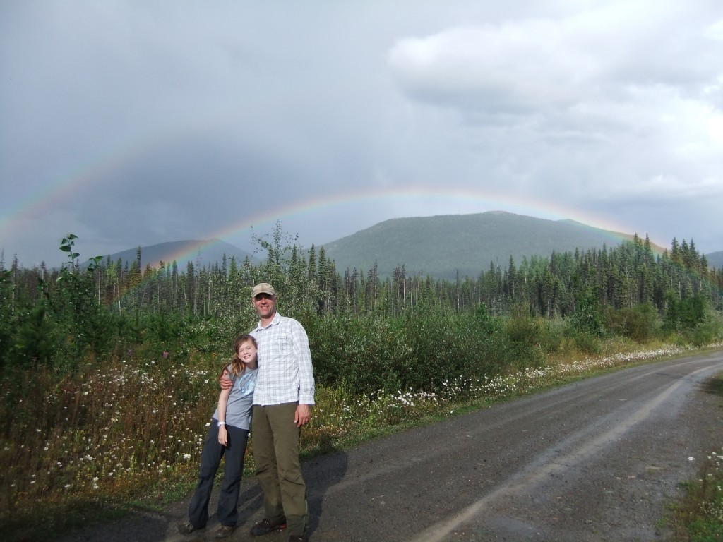 Tim and Sally charge up their luck under one of Wells' ubiquitous double rainbows.