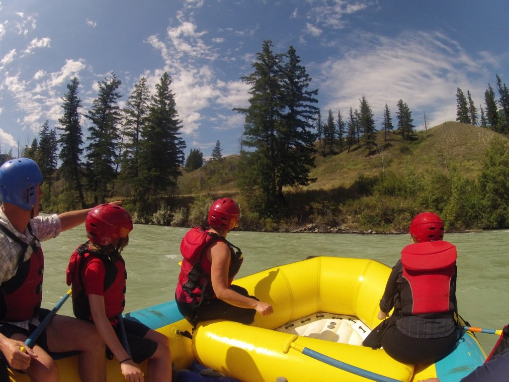 Bear-spotting from the raft.