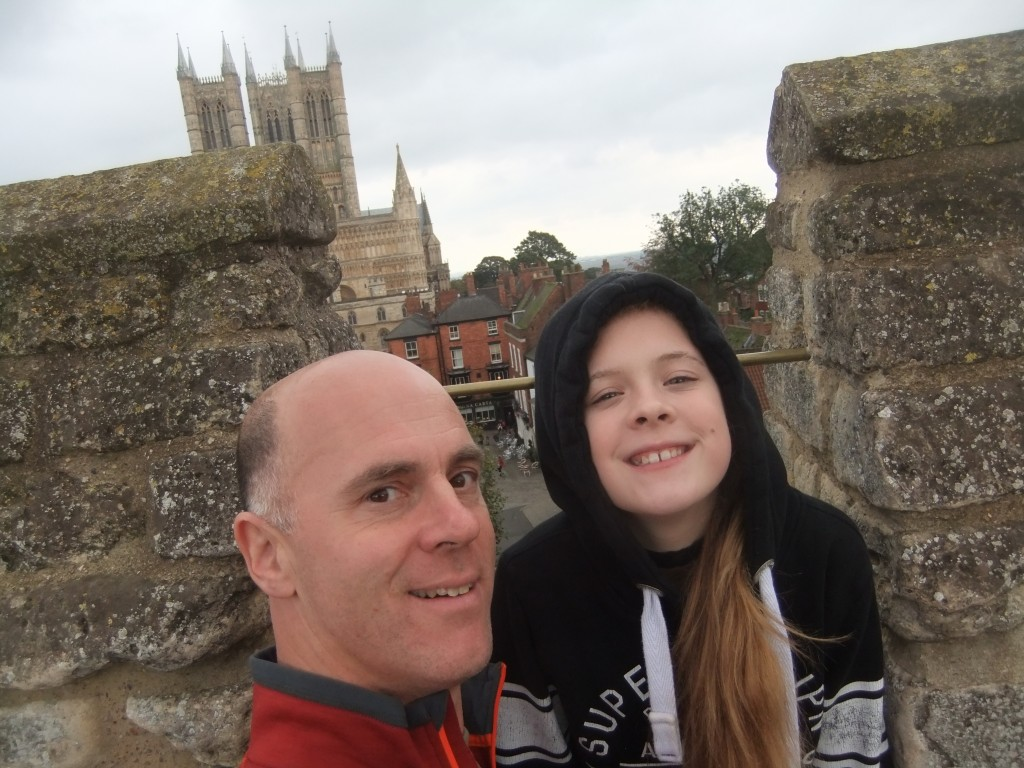 Tim and Sally with the Lincoln Cathedral behind them.
