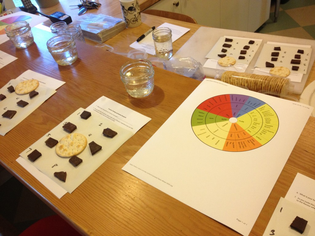 A chocolate tasting: 8 different kinds of chocolate featuring beans from a variety of countries, and chocolate made with a range of cocoa percentages. Water and a plain biscuit as palate cleansers.