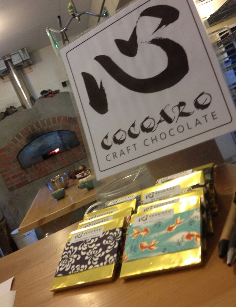 The Cocoaro logo and a sampling of bars: beautifully wrapped in Japanese paper.