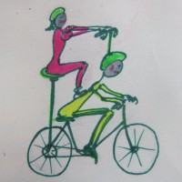 Probably the best image of Tim and I cycling together ever!