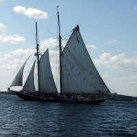"The Bluenose II, being shown ""how it's done"" by Tim, my dad, and my nephew Andrew as they sail into Lunenburg harbour."