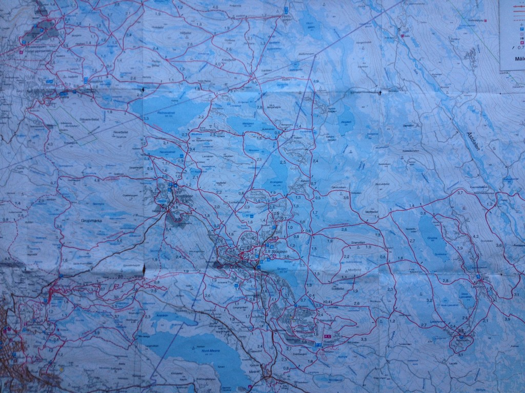 Map  - yep, all those red lines are ski trails, not roads!